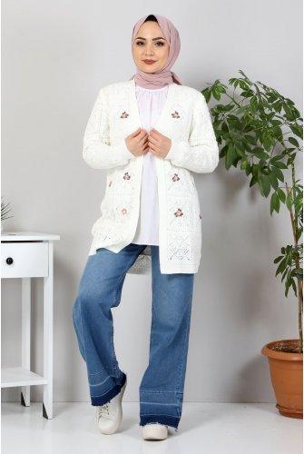 Çiçek Embroidered Knitwear Cardigan TSD10104 Ekru