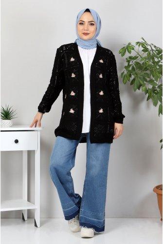 Çiçek Embroidered Knitwear Cardigan TSD10104 Black