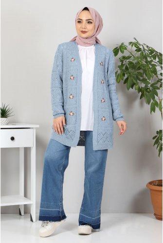 Çiçek Embroidered Knitwear Cardigan TSD10104 Jeans Mavisi