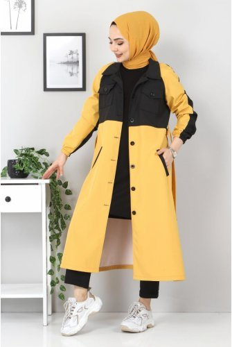 Double Colored Trench coat TSD0919 Mustard