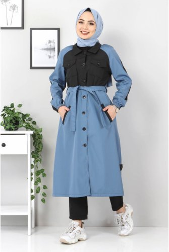 Double Colored Trench coat TSD0919 Blue