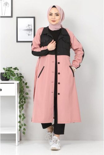 Double Colored Trench coat TSD0919 Light Pink