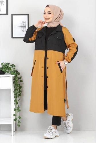 Double Colored Trench coat TSD0919 Taba