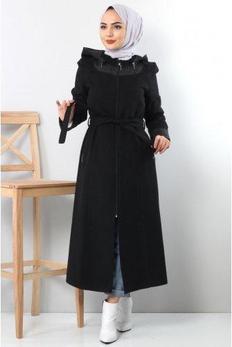 Collar Ve cuff Detailed Stamping fabric Coat TSD1843 Black