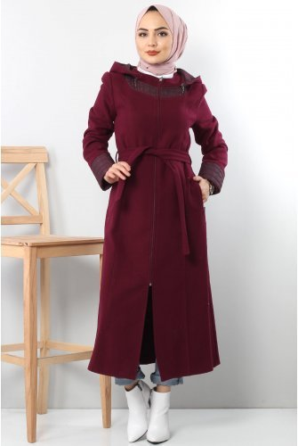 Collar Ve cuff Detailed Stamping fabric Coat TSD1843 Damson
