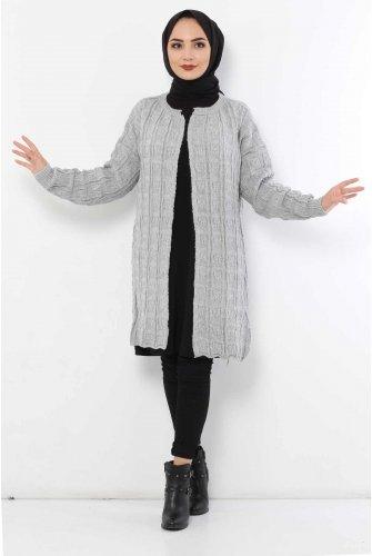 Patterned Knitwear Cardigan TSD2016 Grey