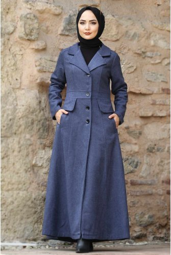 Double Breasted Collar Complete Length Stamping fabric Coat TSD0237 İndigo