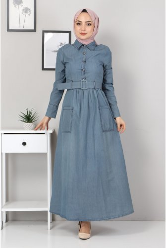 Button Detailed Jeans Dress