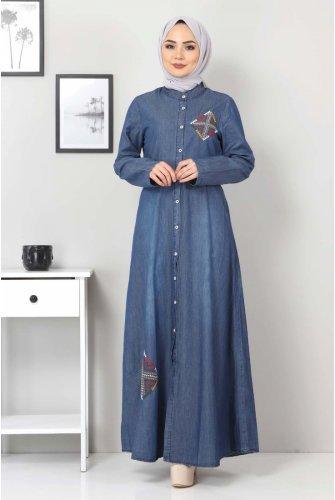 Button Embroidered Jeans Dress TSD08842 Dark Blue
