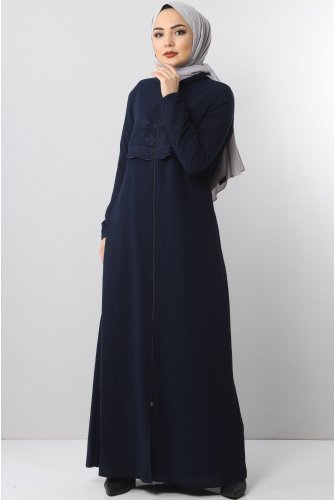 Embroidered Abayas TSD2510 Navy blue