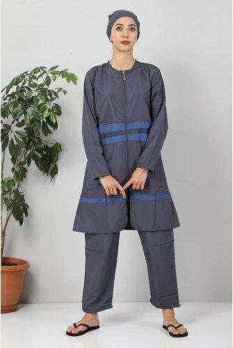 skirt Stripe Hijab Swimsuit TSD8801 Grey - İndigo