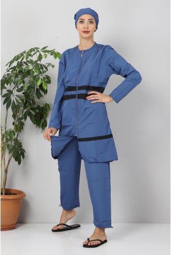 skirt Stripe Hijab Swimsuit TSD8801 İndigo - Black