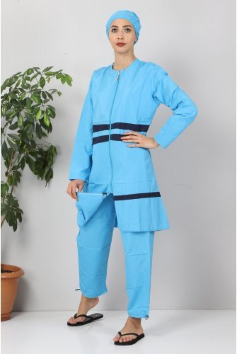 skirt Stripe Hijab Swimsuit TSD8801 Blue - Navy blue