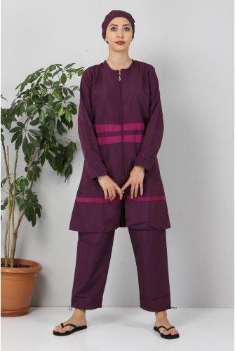 skirt Stripe Hijab Swimsuit TSD8801 Damson - Purple
