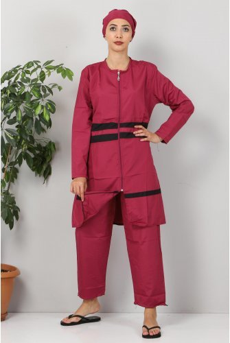 skirt Stripe Hijab Swimsuit TSD8801 Pink - Black