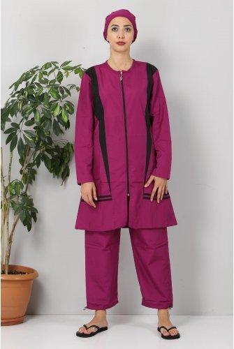 skirt Stripe Hijab Swimsuit TSD8826 Purple - Black