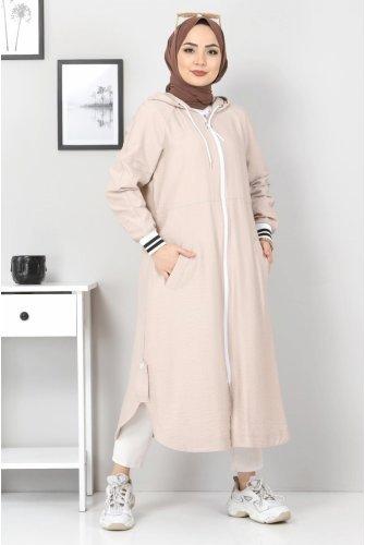 Zipped Ayrobin Women-Jackets TSD21917 Beige