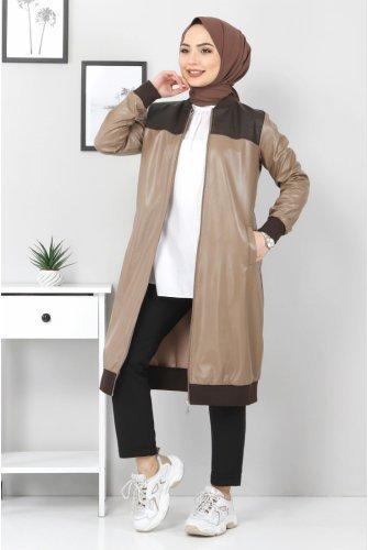 Zipped Leather Women-Jackets TSD7742 Camel