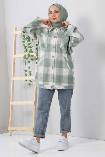 Fleto Pockets Plaid Shirt TSD3326 Mint