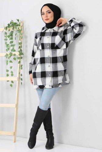 Fleto Pockets Plaid Shirt TSD3326 Black