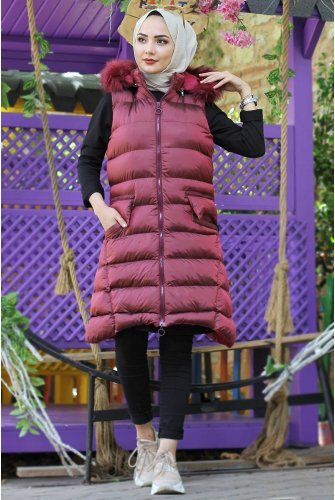 Hood Furry Inflatable Vest TSD5381 Claret Red