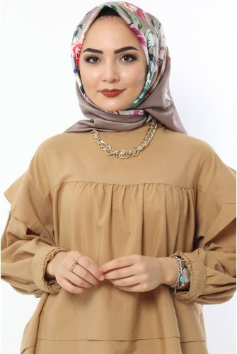 Rose Patterned Scarf E021 Light Brown
