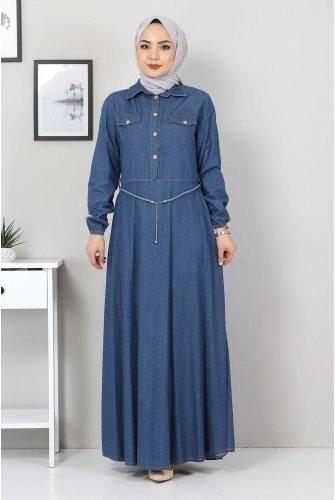 wicker Arched Jeans Dress TSD0344 Blue