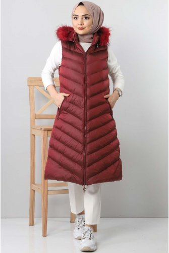 Hooded Inflatable Vest TSD0913 Claret Red