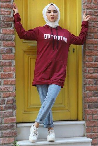Hooded Sweatshirt TSD3318 Claret Red