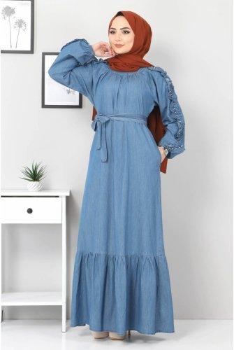 Arms Frilly İncili Jeans Dress TSD0804 Light blue