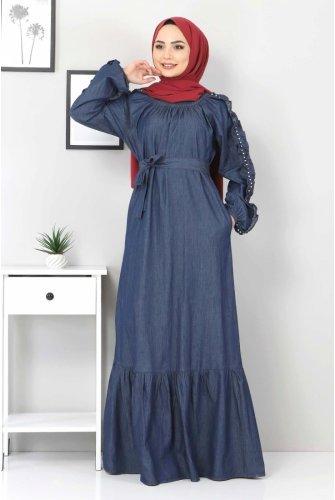 Arms Frilly İncili Jeans Dress TSD0804 Dark Blue