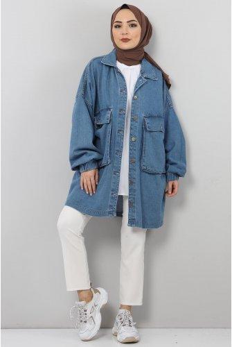 Arms Elastic Jeans Jacket TSD0088 Light blue