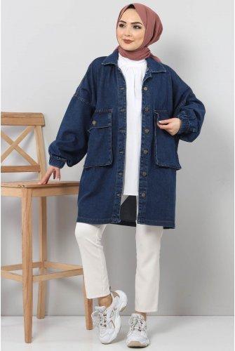 Arms Elastic Jeans Jacket TSD0088 Dark Blue