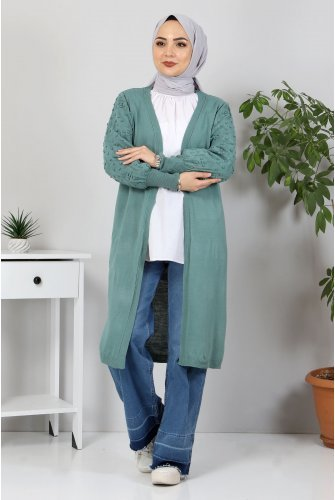 Arms Ponpon Detailed Knitwear Cardigan TSD10059 Mint Green
