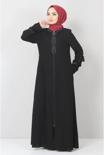 Arms Tassel Detailed Abayas TSD22022 Black