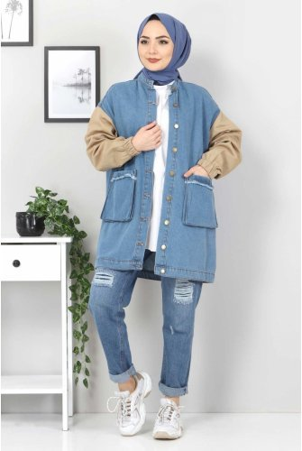 Arms Colored Jeans Jacket TSD22055 Beige
