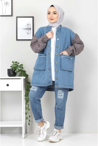 Arms Colored Jeans Jacket TSD22055 Smoked