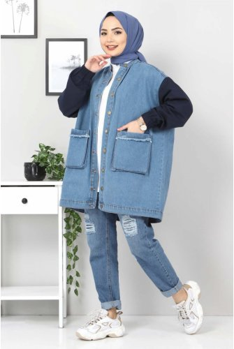 Arms Colored Jeans Jacket TSD22055 Navy blue
