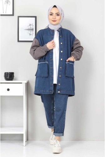 Arms Colored Jeans Jacket TSD22056 Smoked