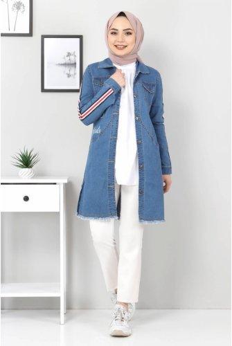 Arms Stripe Jeans Jacket TSD02006 Blue