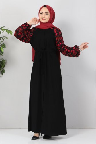 arm Patterned With Flowers Abayas TSD9100 Black