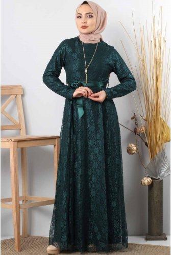 قلادةli فستان السهرة المحتشم بالدنتبل TSD8821 زمرد