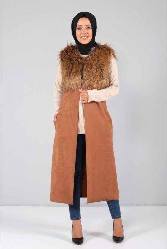Furry Suede Vest NV7005 Taba