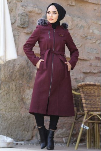Belted Stamping fabric Coat TSD9925 Claret Red