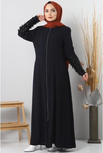 Arm Detailed Plus Size Abayas TSD2409 Navy blue