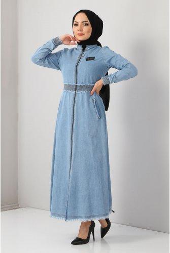Lastik Detay Jeans Dress