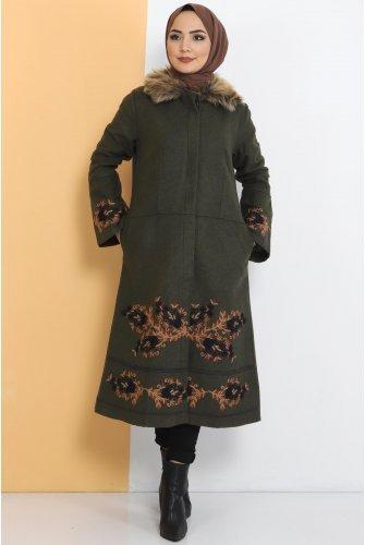 Embroidered Stamping fabric Coat TSD1270 Khaki