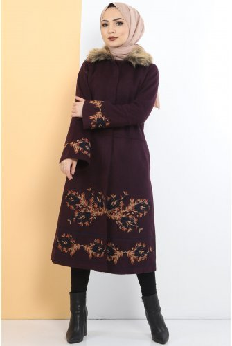 Embroidered Stamping fabric Coat TSD1270 Purple