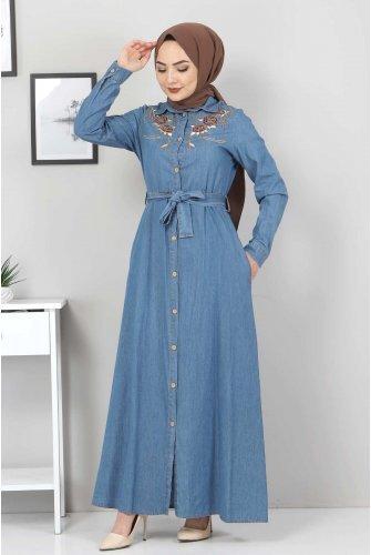 Embroidered Jeans Dress TSD0355 Light blue