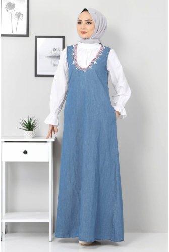 Embroidered Jeans Salopet TSD04100 Light blue